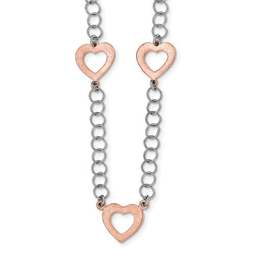 Sterling Silver Two Tone Heart Necklace