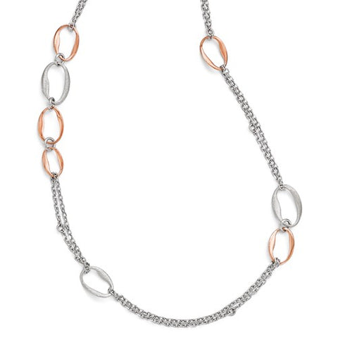 Sterling Silver Two Tone Oval Link Necklace