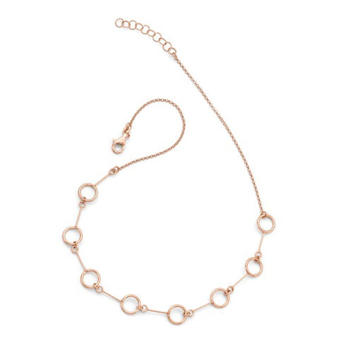 Sterling Silver Rose Colored Circle Necklace