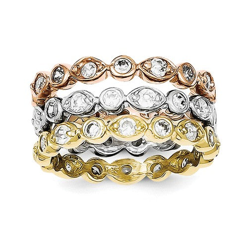 Sterling Silver Tri Colored Stackable Rings