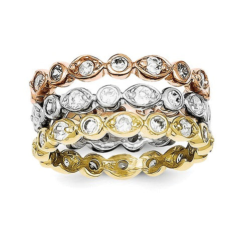 Sterling Silver Tri-Color Stackable Rings