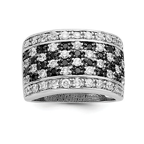 Black And White CZ Sterling Silver Ring