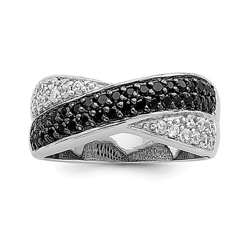 Sterling Silver, Black And White CZ Ring