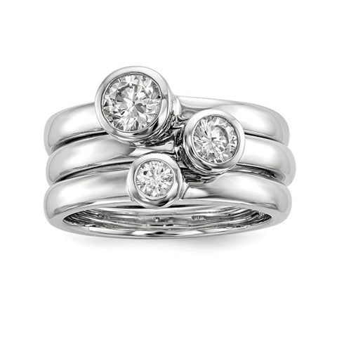 Sterling Silver Three Ring CZ Stackable Set
