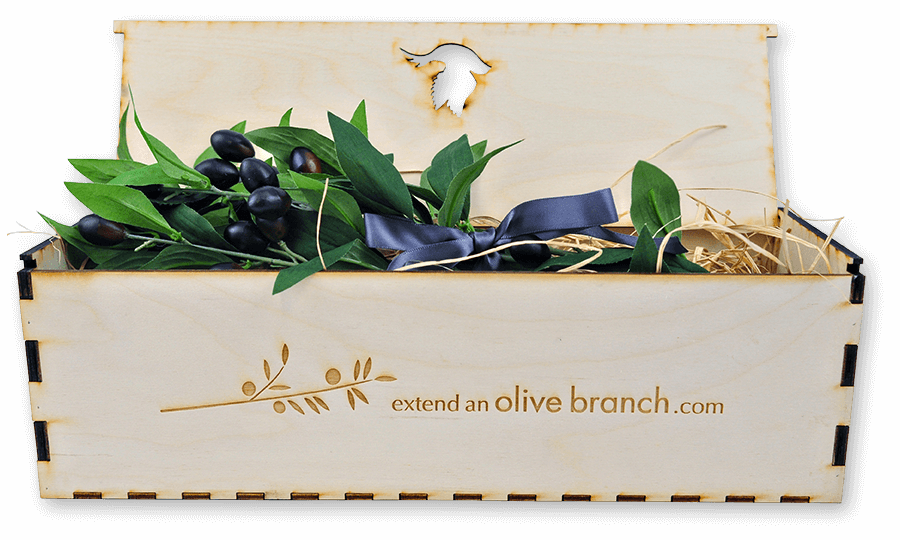 Olive Branch in a Handmade Wooden Box