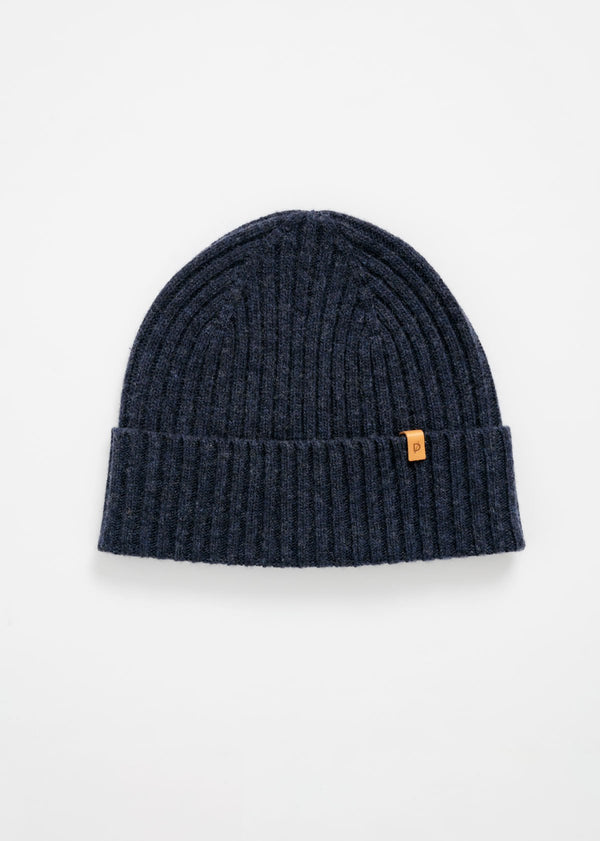 merino rib knit hat in indigo navy blue flat lay