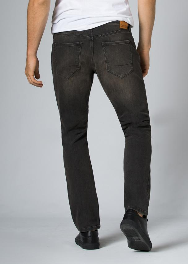 dark wash relaxed fit stretch jeans back