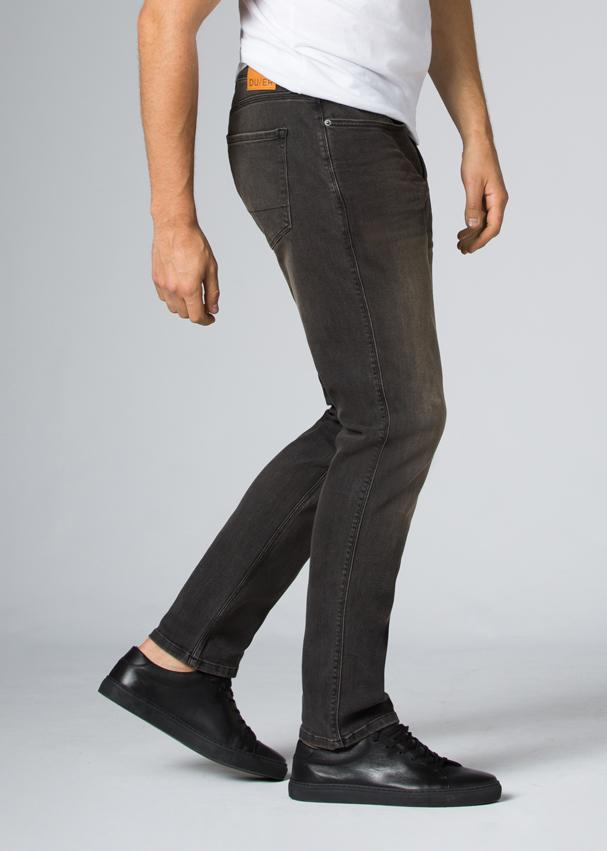 dark wash relaxed fit stretch jeans side