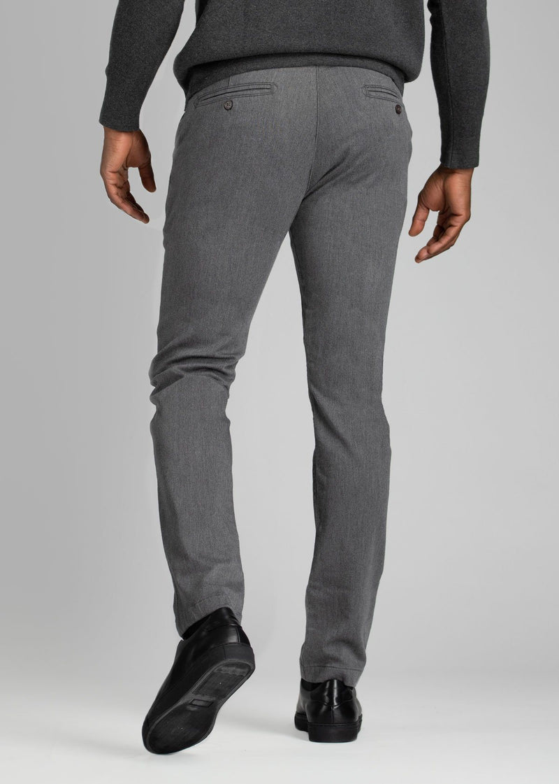 Mens heather grey slim fit summer chinos back