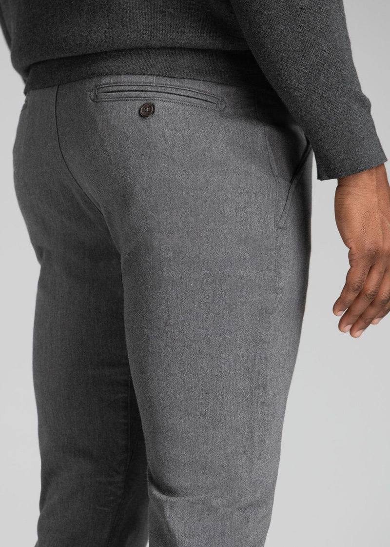 Mens heather grey slim fit summer chinos detail