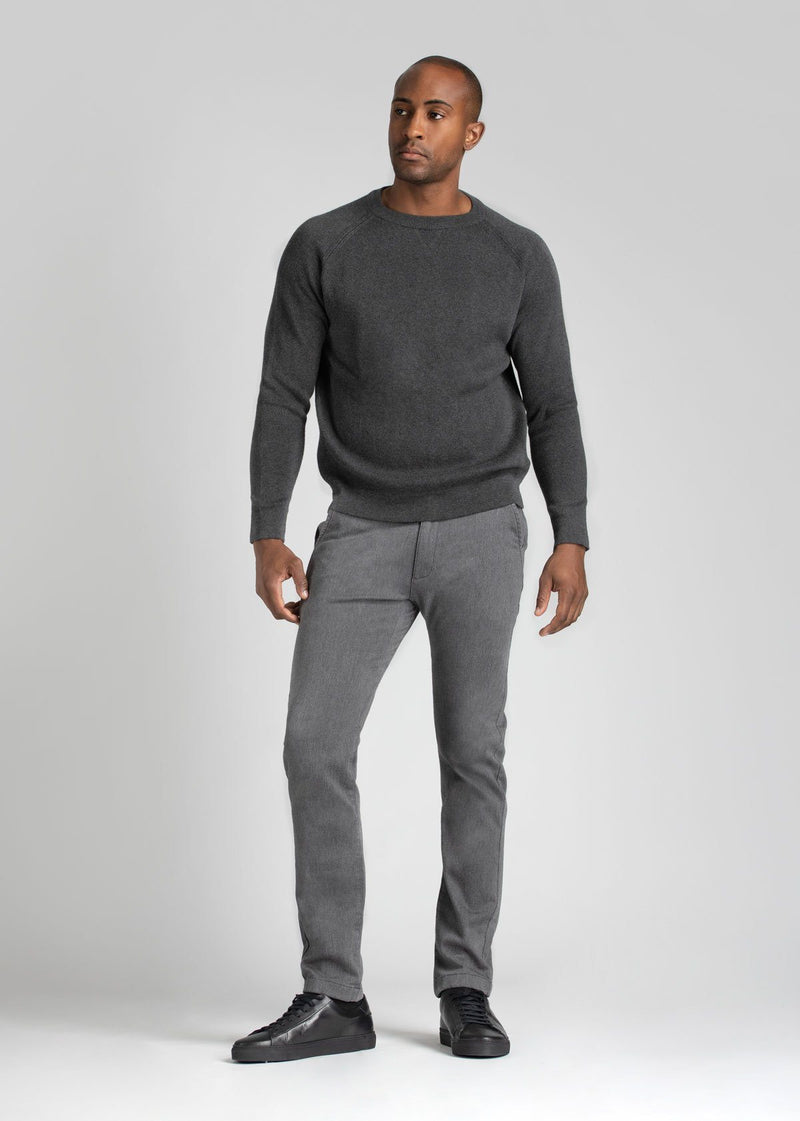 Mens heather grey slim fit summer chinos full body