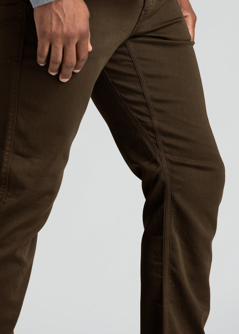 mens relaxed brown dress sweatpant side detail