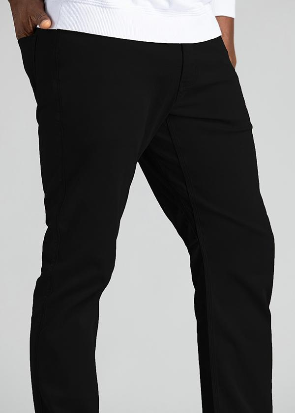 mens relaxed taper lightweight black pants detail