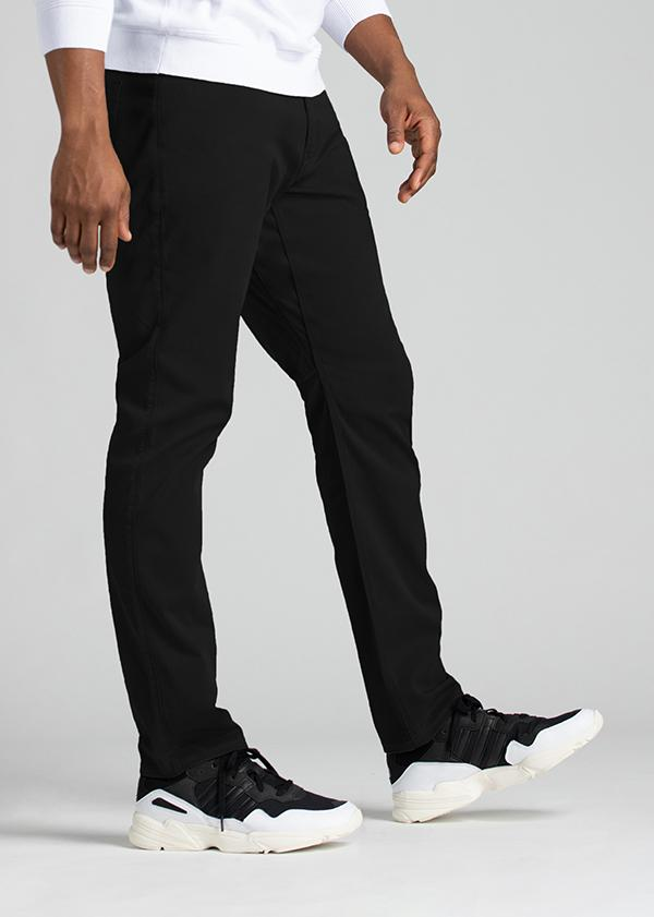 mens relaxed taper lightweight black pants side