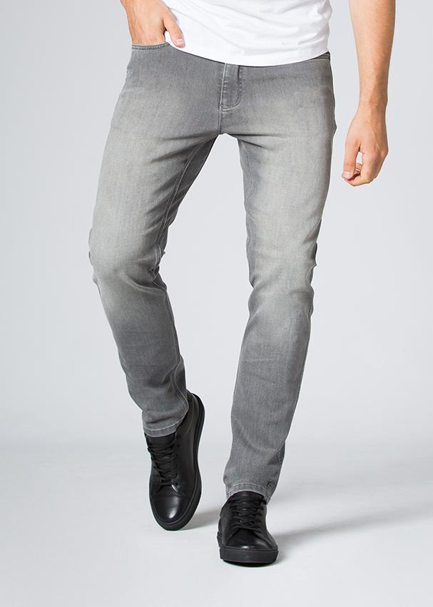 grey wash slim fit stretch jeans front
