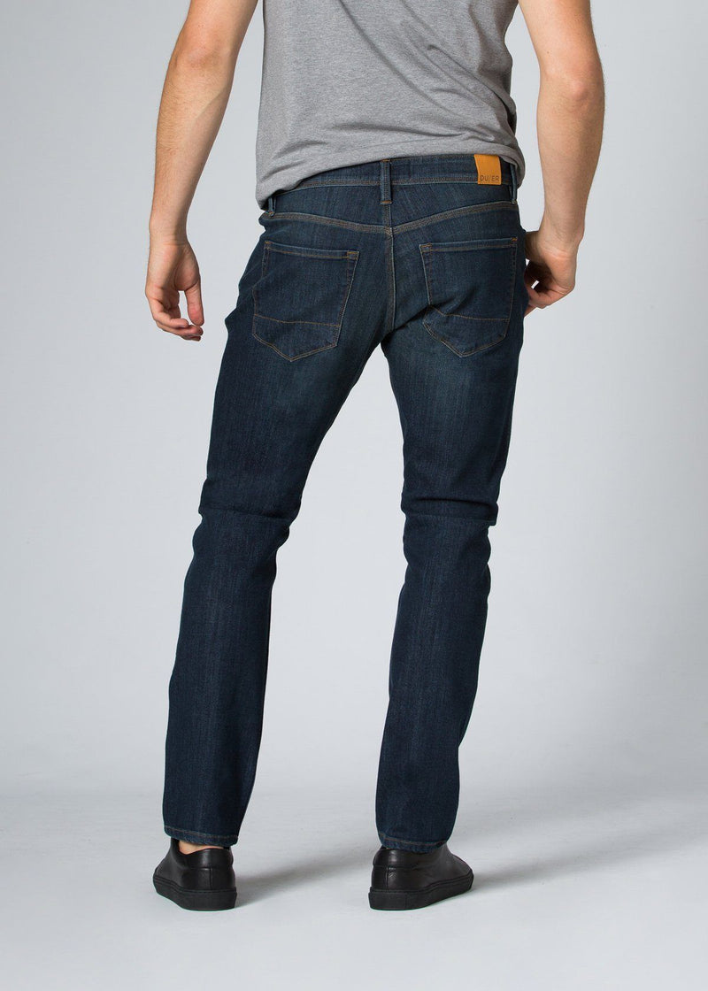 medium wash relaxed fit stretch jeans back