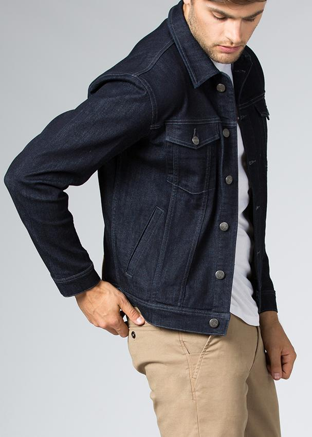 indigo stretch denim jacket side