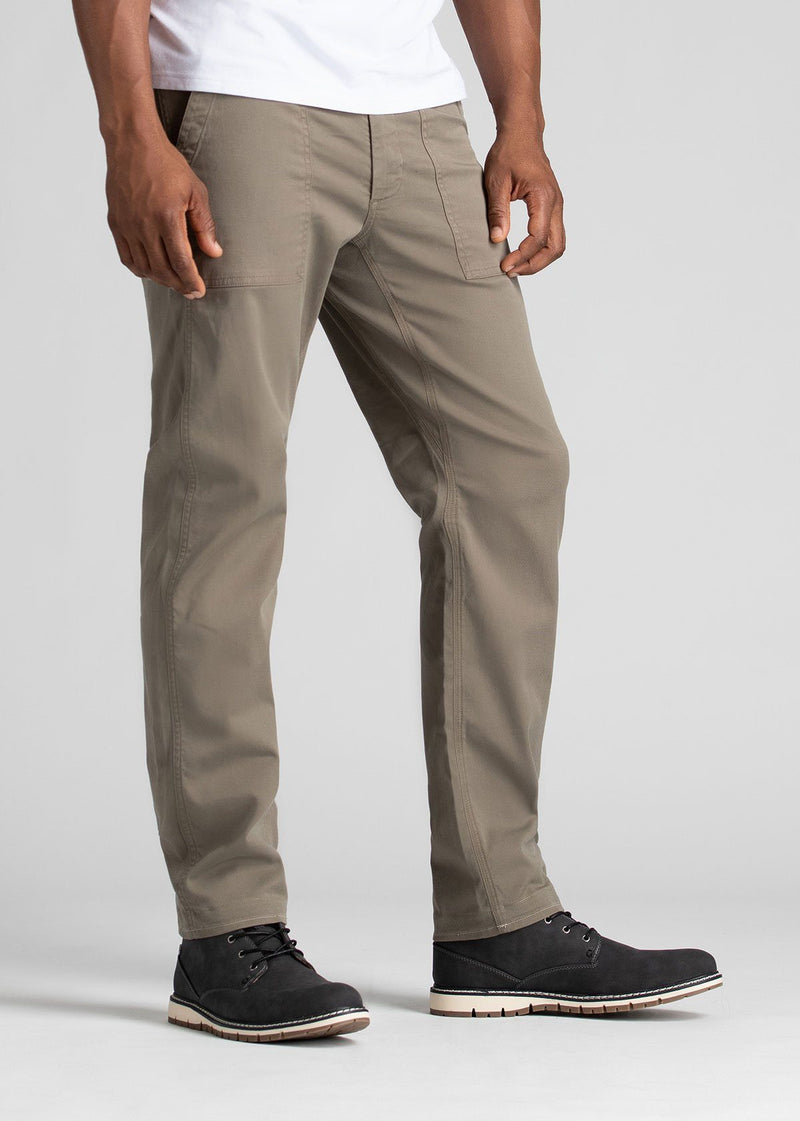 Man wearing light grey straight fit water resistant pants side