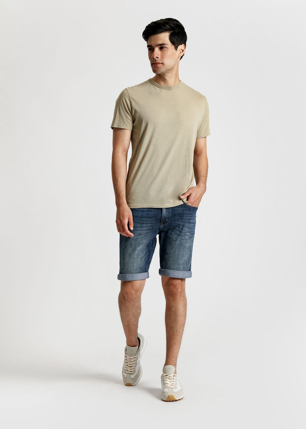 Light wash slim fit performance denim short full body