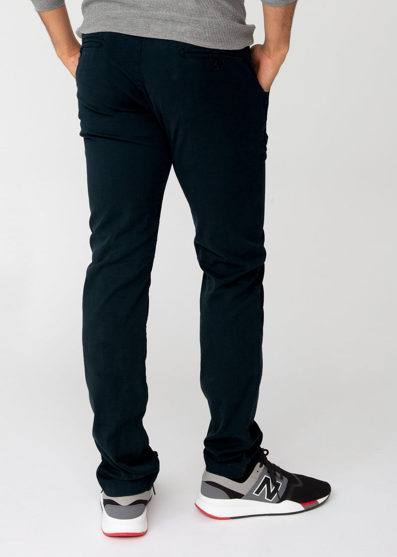 Mens dark blue slim fit summer chinos back