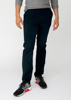 Mens dark blue slim fit summer chinos front