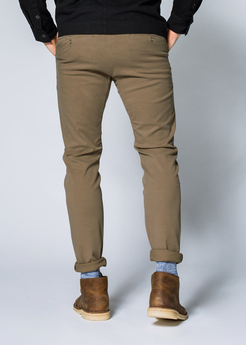 Mens khaki slim fit summer chinos back
