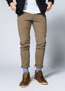 Mens khaki slim fit summer chinos front
