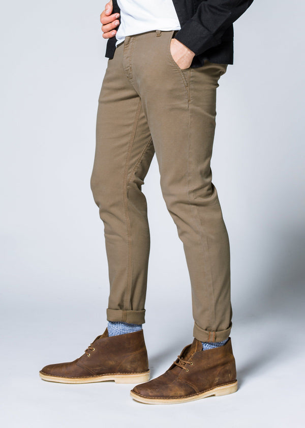Mens khaki slim fit summer chinos side