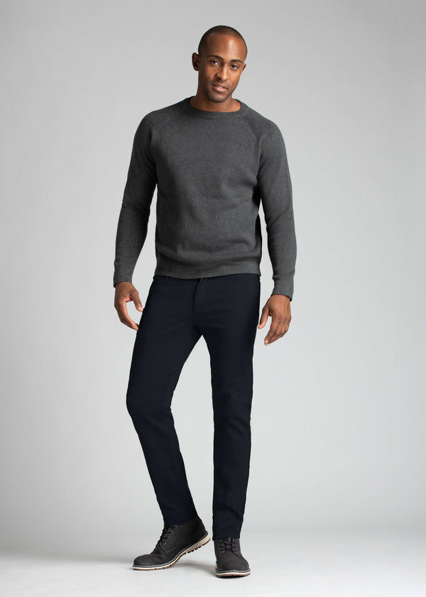 mens navy lightweight pants styled with heather grey sweater