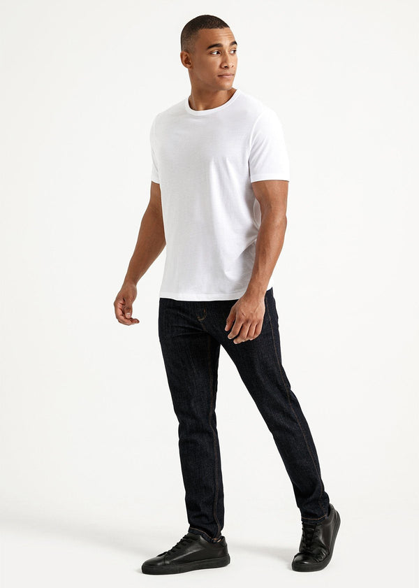 Mens soft lightweight white t-shirt full body side front