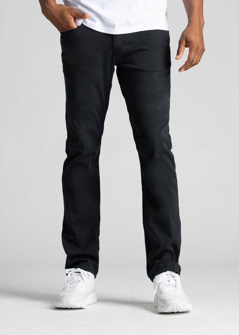 Mens Black Straight Fit Lightweight Pant Front