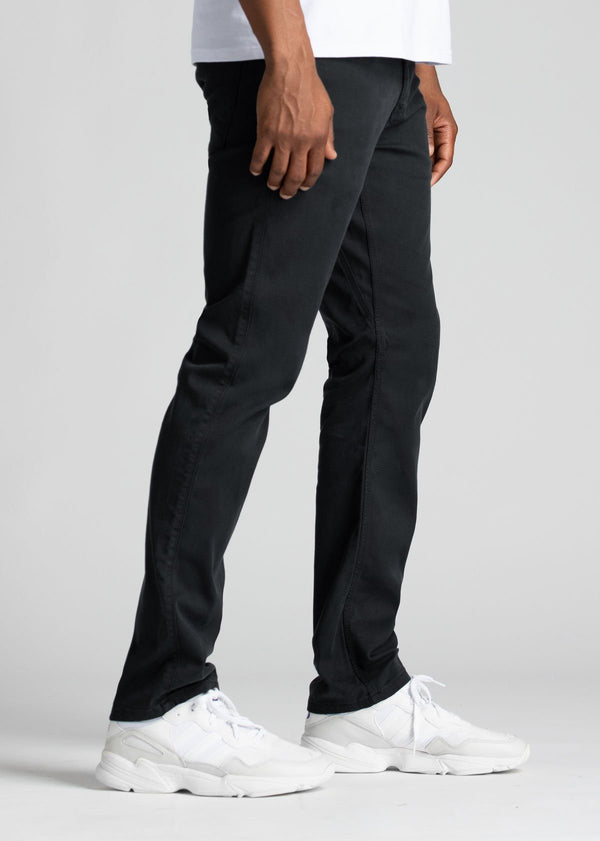 Mens Black Straight Fit Lightweight Pant Side