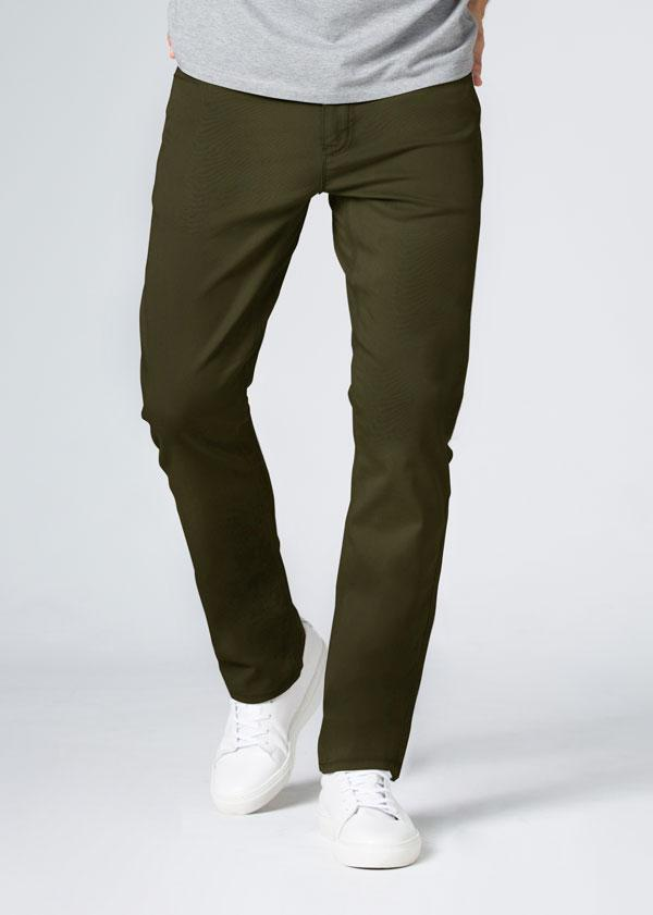 Mens Dark Green Straight Fit Lightweight Pant Front
