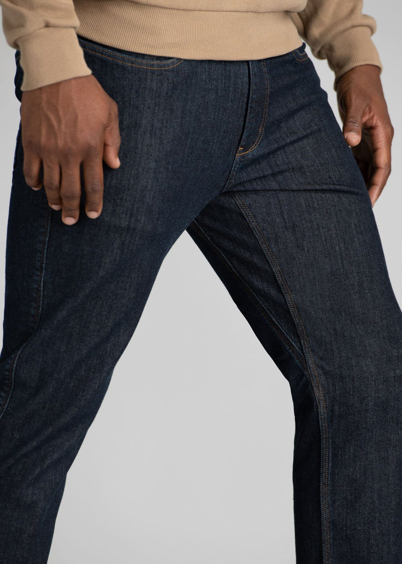 Mens Dark Wash Slim Fit Warm Stretch Jeans Side Detail