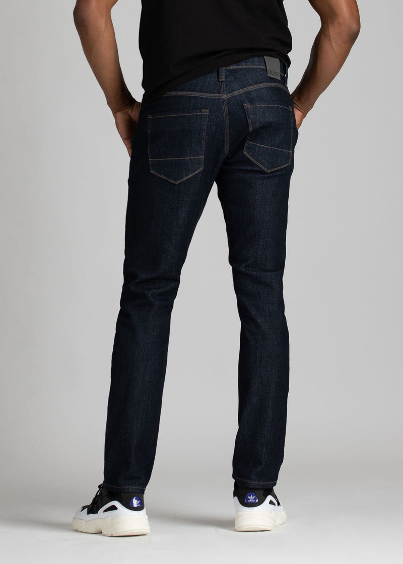 Mens relaxed fit blue water resistant stretch jeans back