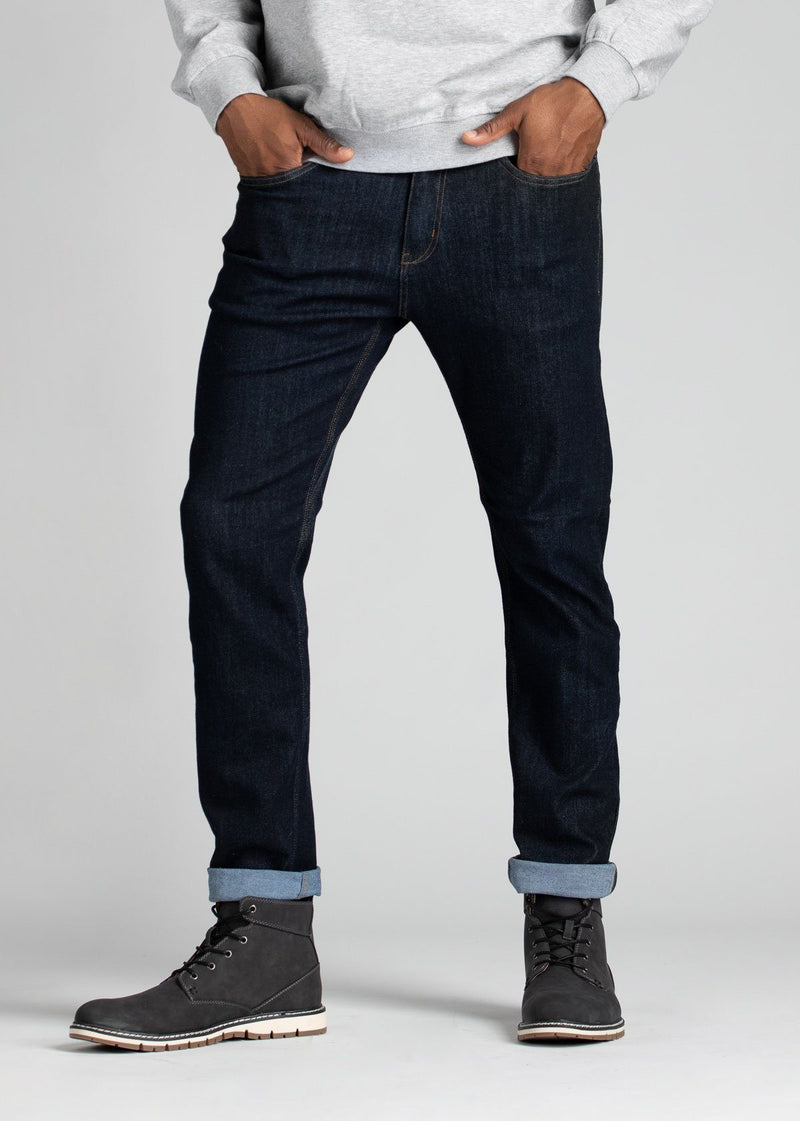 Mens slim fit blue water resistant stretch jeans front cuffed