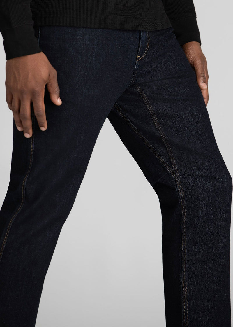 Midweight Straight Fit Dark Blue Stretch Denim Detail