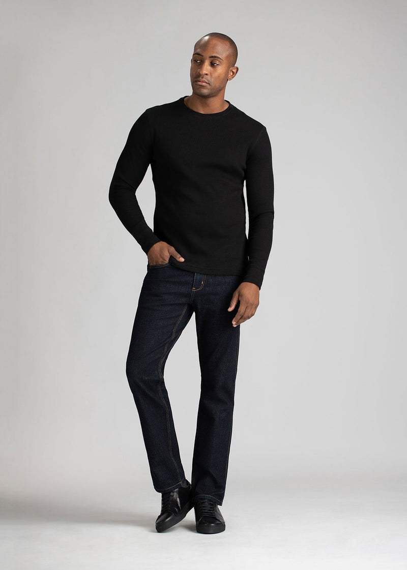Midweight Straight Fit Dark Blue Stretch Denim full body