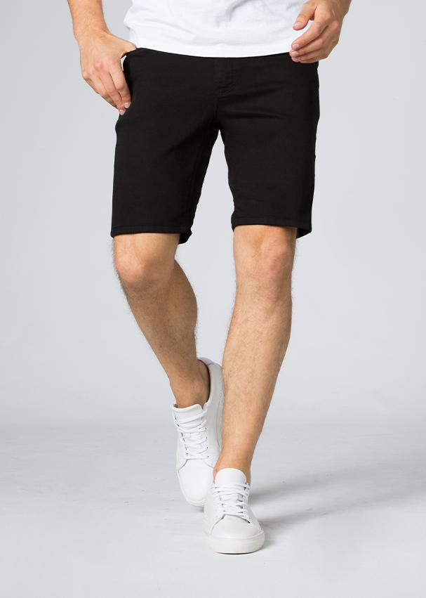 black slim fit performance short front