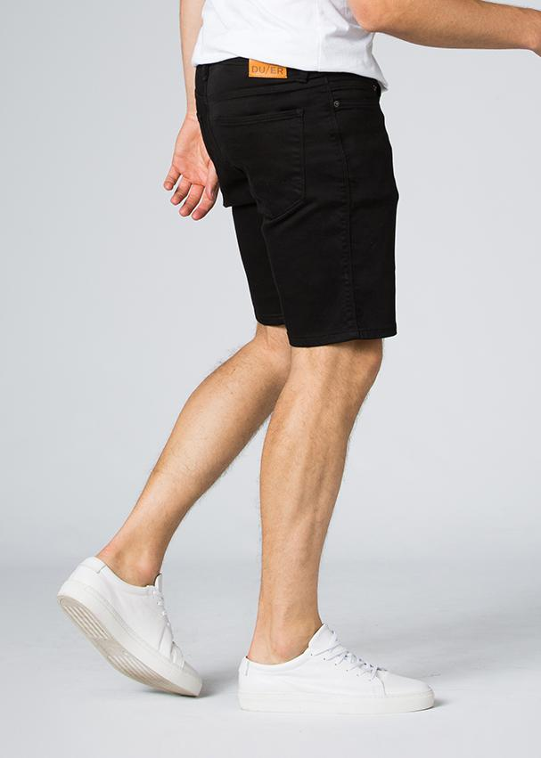 black slim fit performance short side