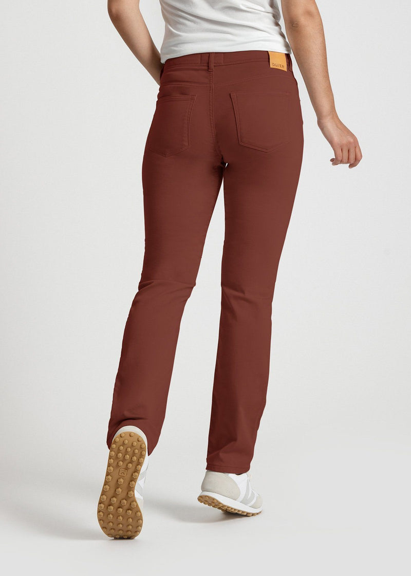 womens red brown slim straight fit dress sweatpant back