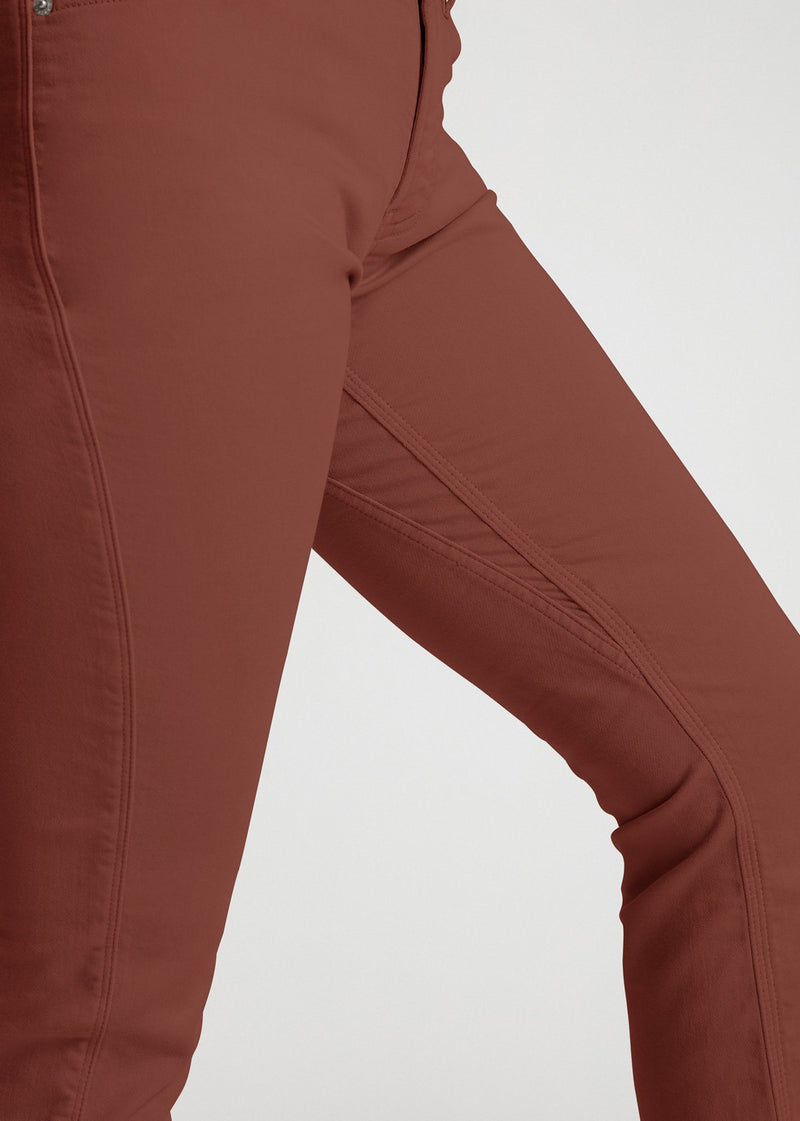 womens red brown slim straight fit dress sweatpant side detail