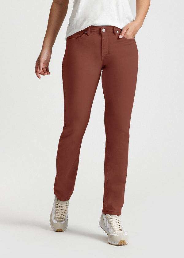 womens red brown slim straight fit dress sweatpant front