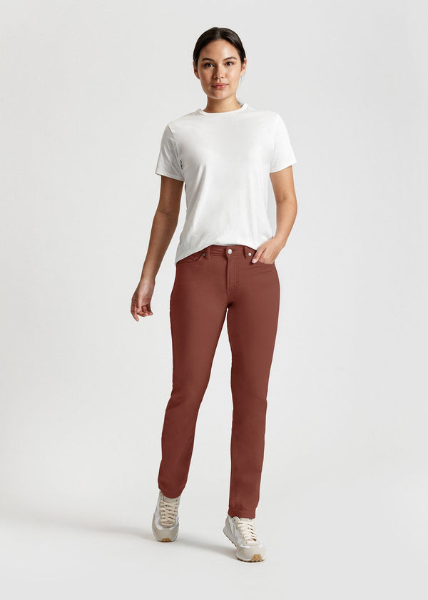 womens red brown slim straight fit dress sweatpant full body