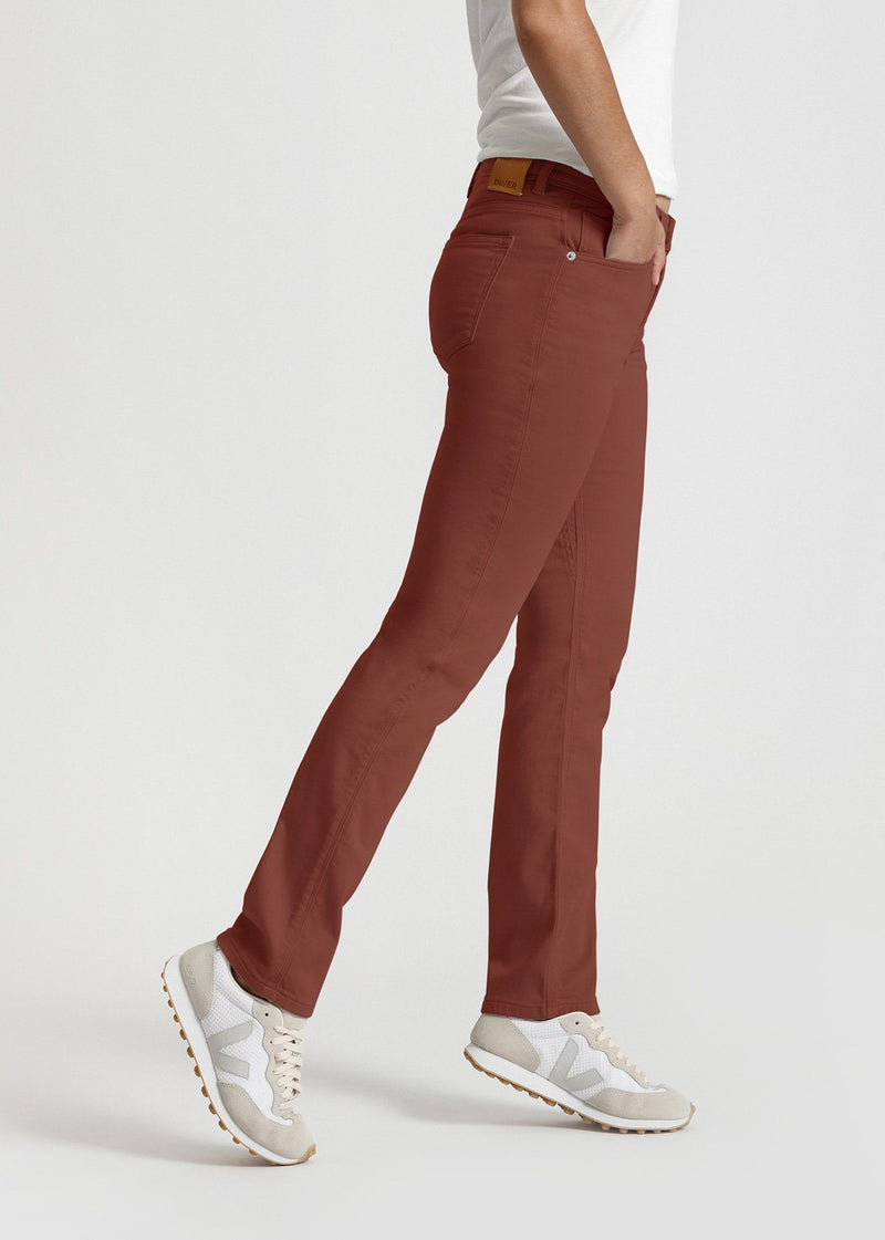 womens red brown slim straight fit dress sweatpant side