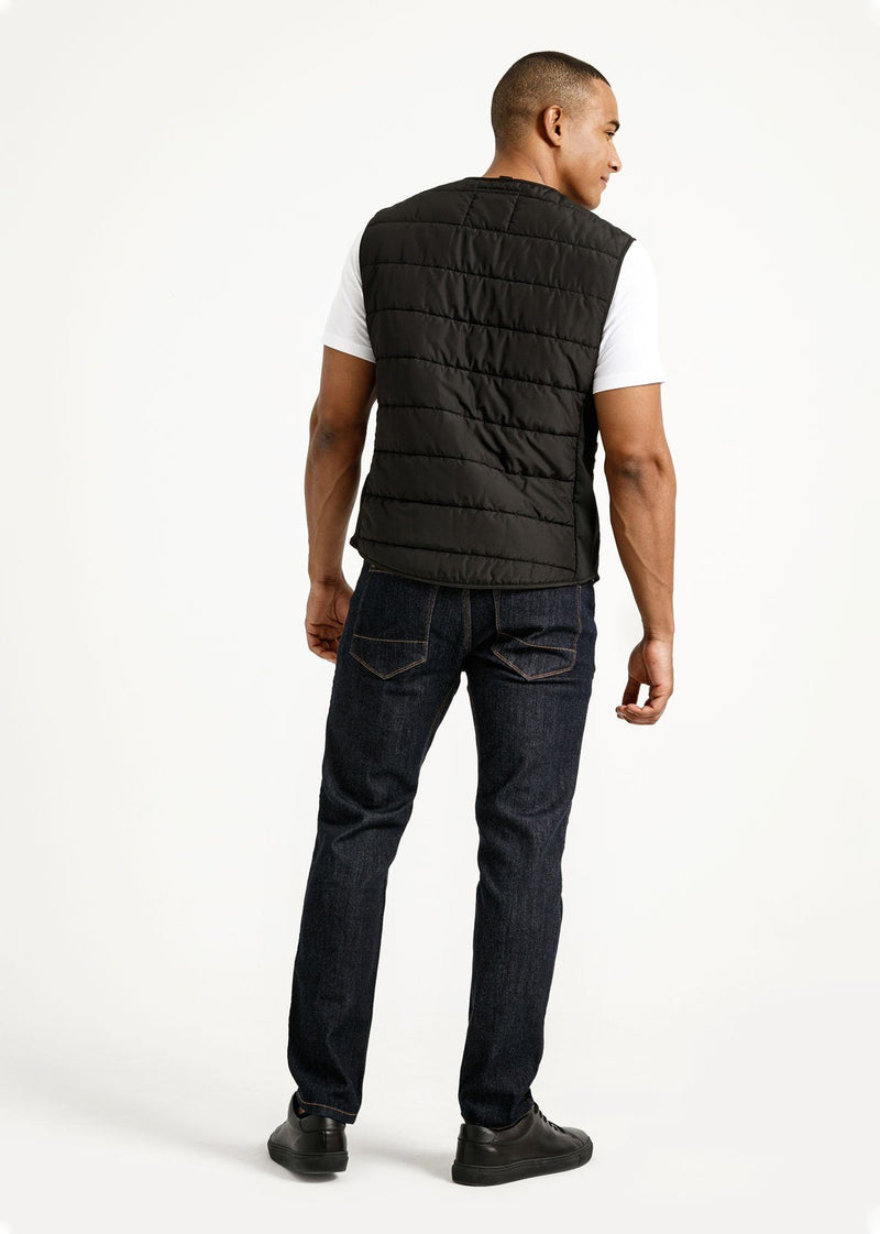 Men's Primaloft black warm vest fullbody back