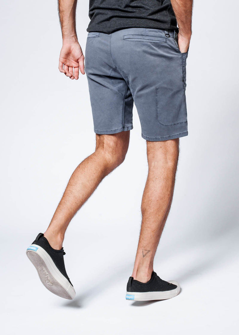 man wearing grey Straight Fit Performance Short back