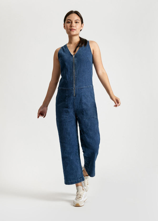womens medium blue wash stretch denim jumpsuit full body front