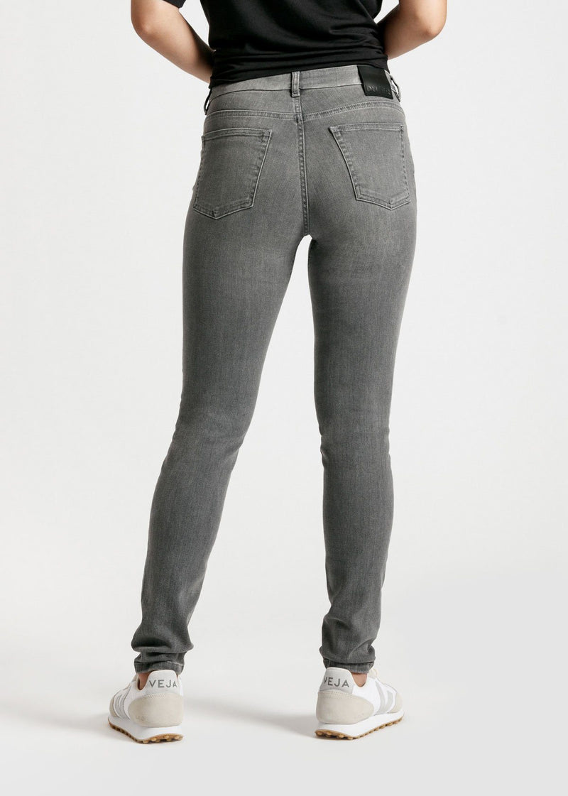 womens grey mid rise skinny fit stretch jeans back