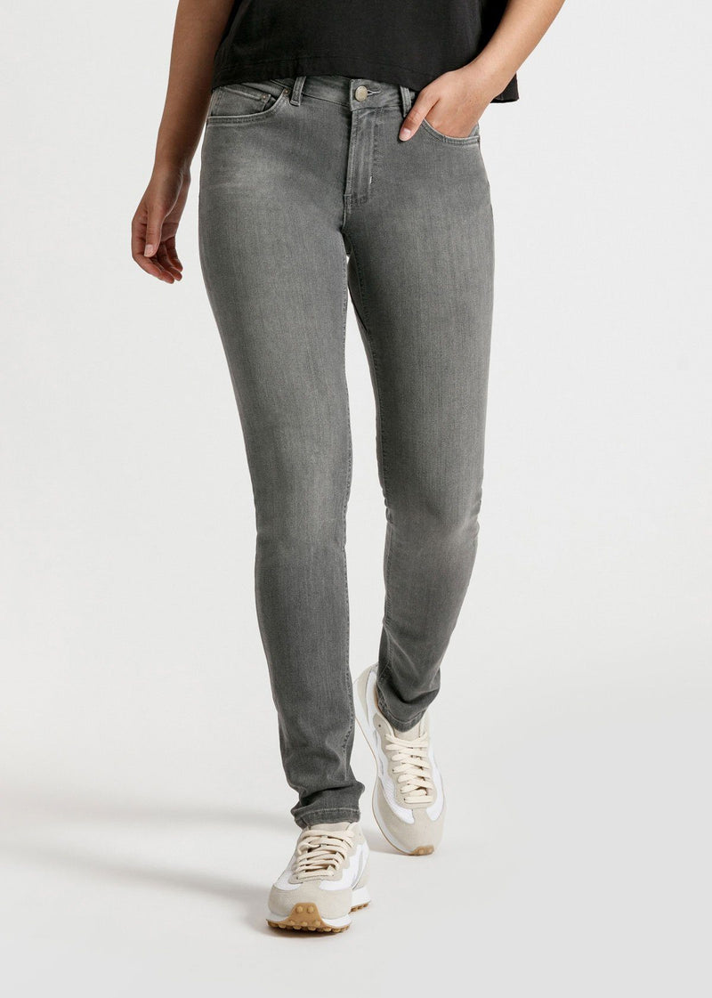 womens grey mid rise skinny fit stretch jeans front